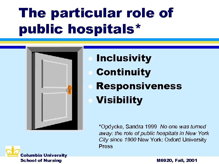 The particular role of public hospitals* l l Inclusivity Continuity Responsiveness Visibility *Opdycke, Sandra