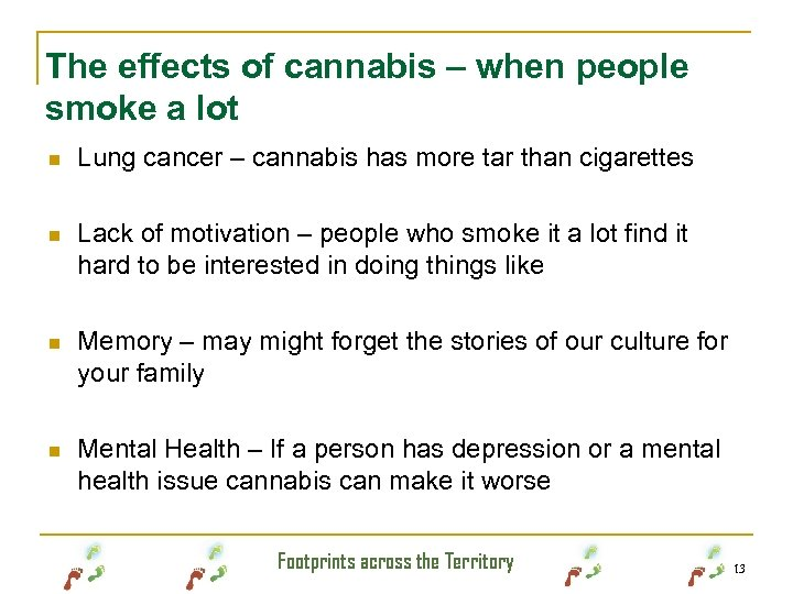 The effects of cannabis – when people smoke a lot n Lung cancer –