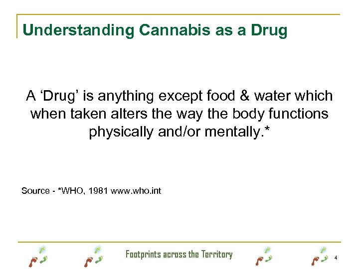 Understanding Cannabis as a Drug A 'Drug' is anything except food & water which