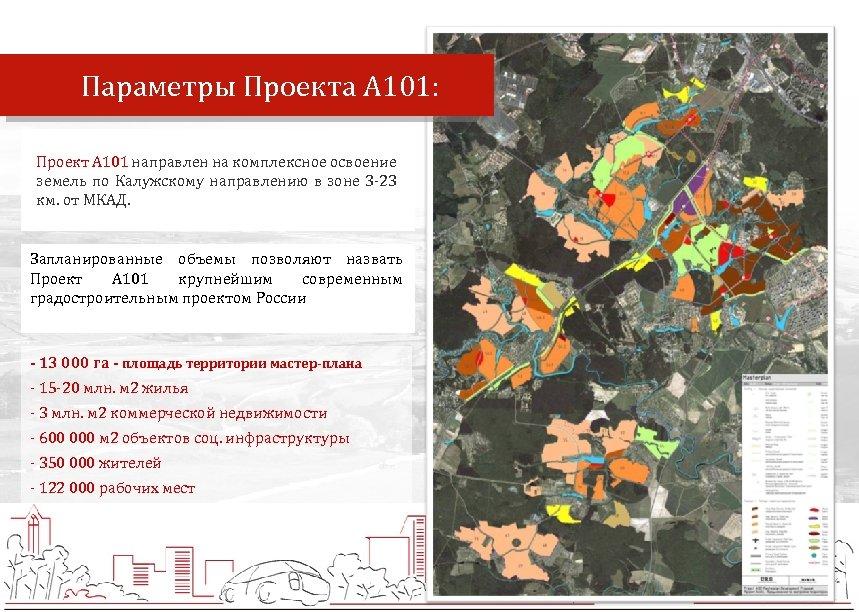Параметры Проекта А 101: Проект А 101 направлен на комплексное освоение земель по