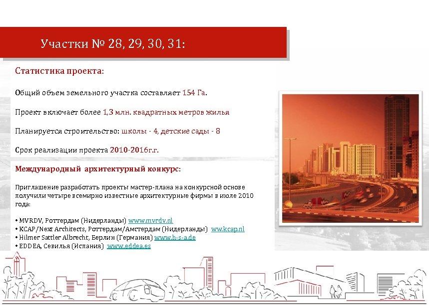 Участки № 28, 29, 30, 31: Статистика проекта: Общий объем земельного участка составляет