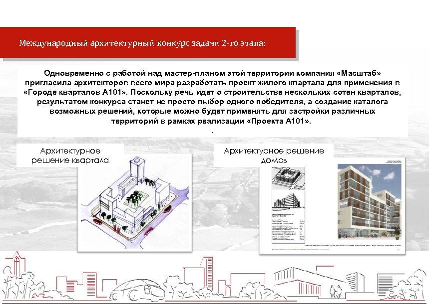 Международный архитектурный конкурс задачи 2 -го этапа: Одновременно с работой над мастер-планом этой
