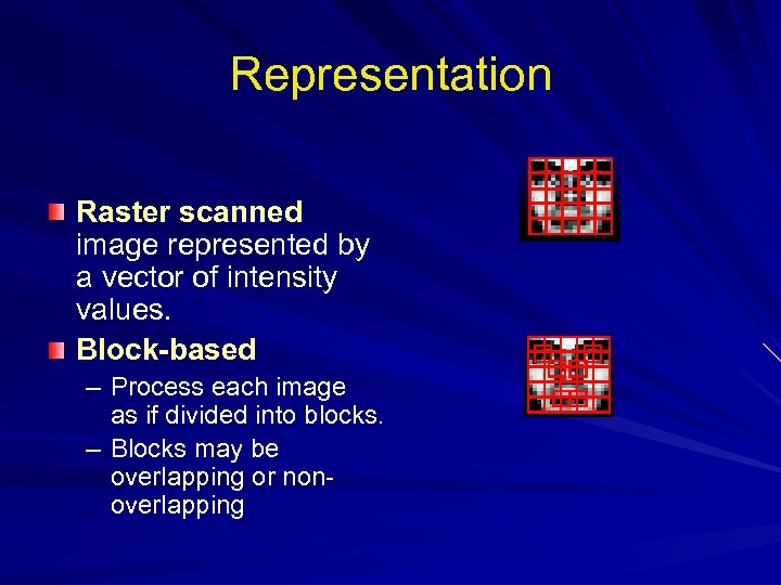 Representation Raster scanned image represented by a vector of intensity values. Block-based – Process