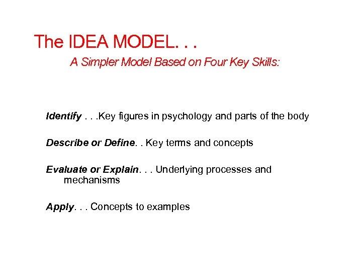 The IDEA MODEL. . . A Simpler Model Based on Four Key Skills: Identify.