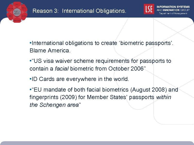 Reason 3: International Obligations. • International obligations to create 'biometric passports'. Blame America. •