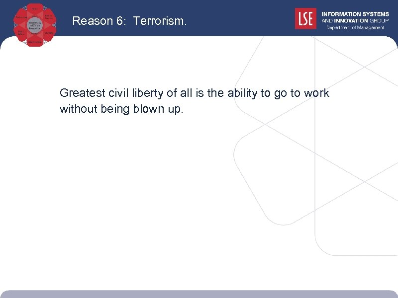 Reason 6: Terrorism. Greatest civil liberty of all is the ability to go to