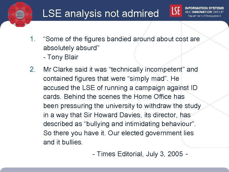 """LSE analysis not admired popular. . . 1. """"Some of the figures bandied around"""