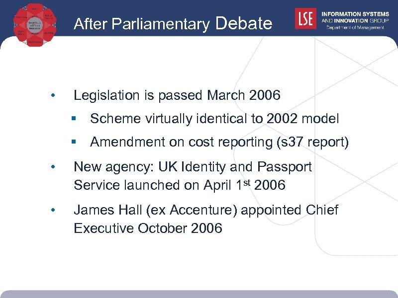 After Parliamentary Debate debate • Legislation is passed March 2006 § Scheme virtually identical
