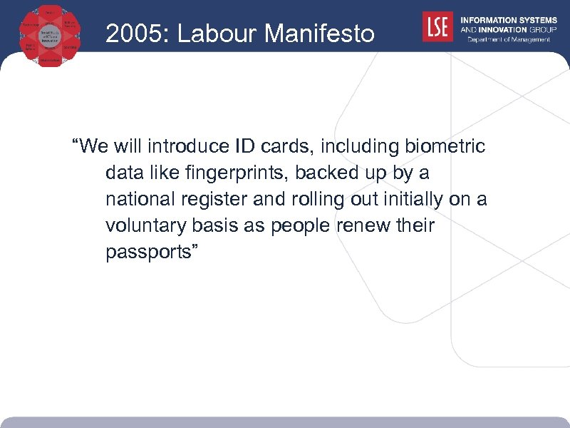 """2005: Labour Manifesto """"We will introduce ID cards, including biometric data like fingerprints, backed"""