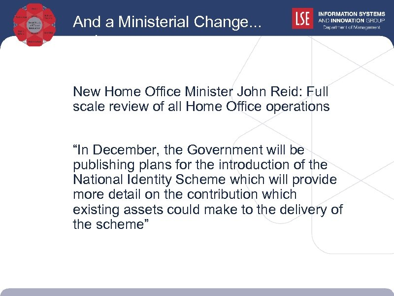 And a Ministerial Change. . . reviews New Home Office Minister John Reid: Full