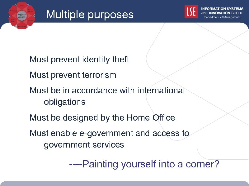 Multiple purposes Must prevent identity theft Must prevent terrorism Must be in accordance with