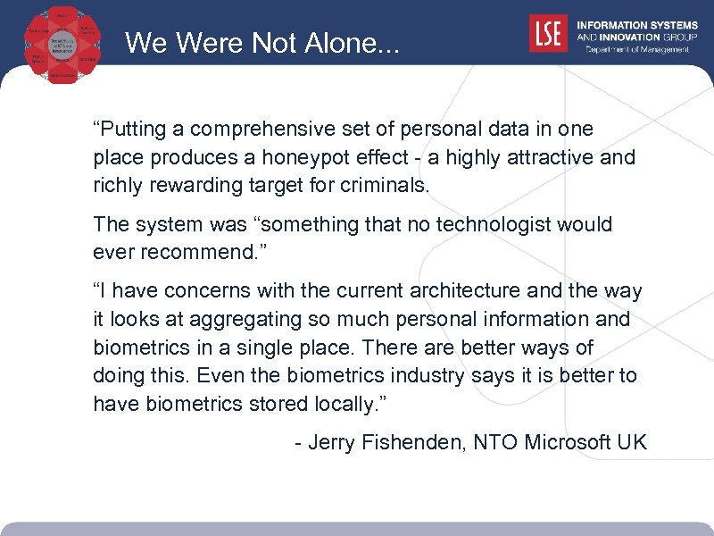 """We Were Not Alone. . . """"Putting a comprehensive set of personal data in"""