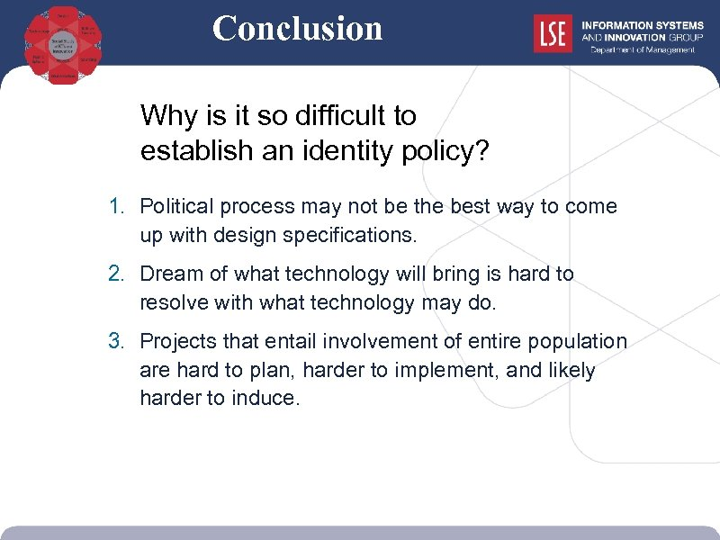 Conclusion Why is it so difficult to establish an identity policy? 1. Political process