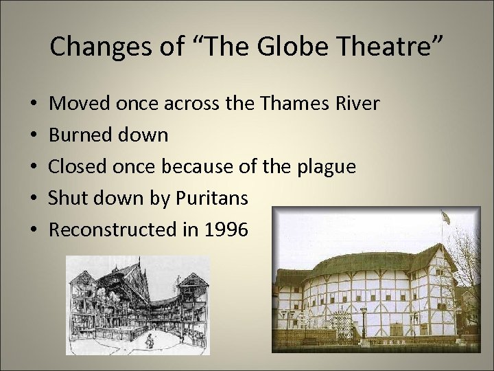 """Changes of """"The Globe Theatre"""" • • • Moved once across the Thames River"""