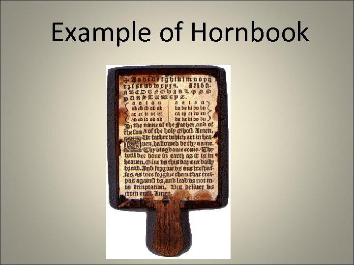 Example of Hornbook