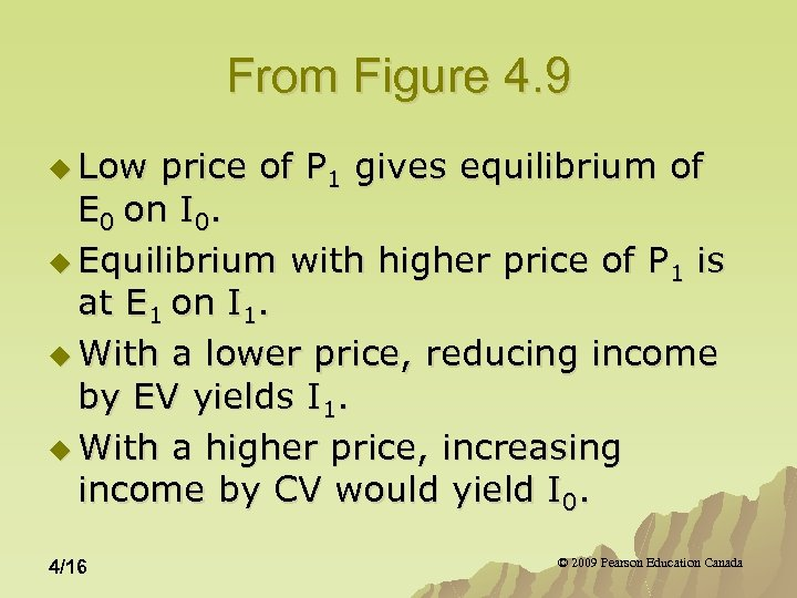 From Figure 4. 9 u Low price of P 1 gives equilibrium of E