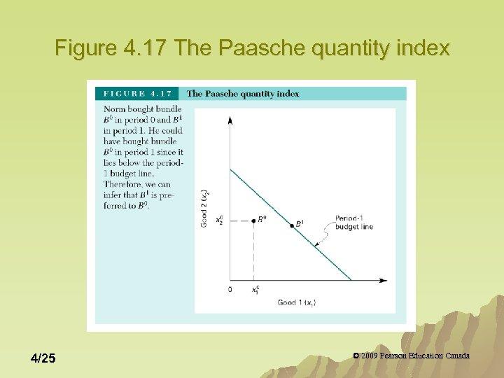 Figure 4. 17 The Paasche quantity index 4/25 © 2009 Pearson Education Canada