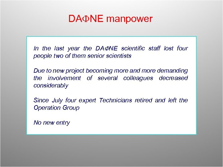 DAFNE manpower In the last year the DAFNE scientific staff lost four people two