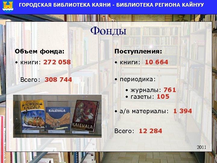 Фонды Объем фонда: Поступления: • книги: 272 058 • книги: 10 664 Всего: 308