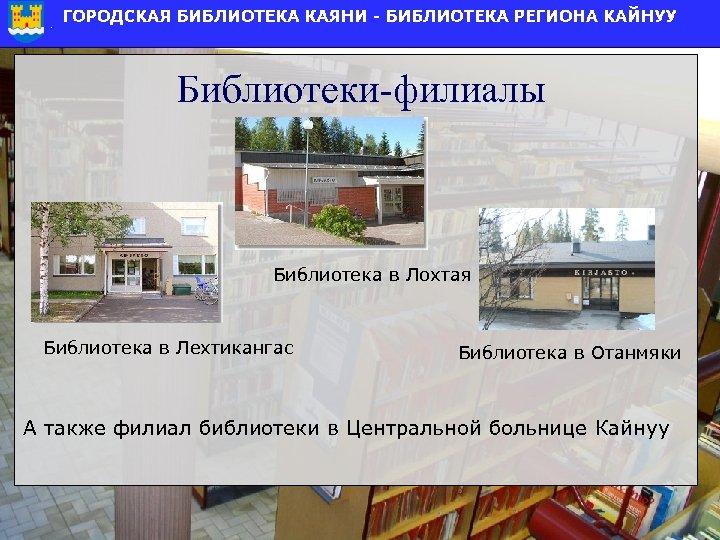 Библиотеки-филиалы Библиотека в Лохтая Библиотека в Лехтикангас Библиотека в Отанмяки А также филиал библиотеки