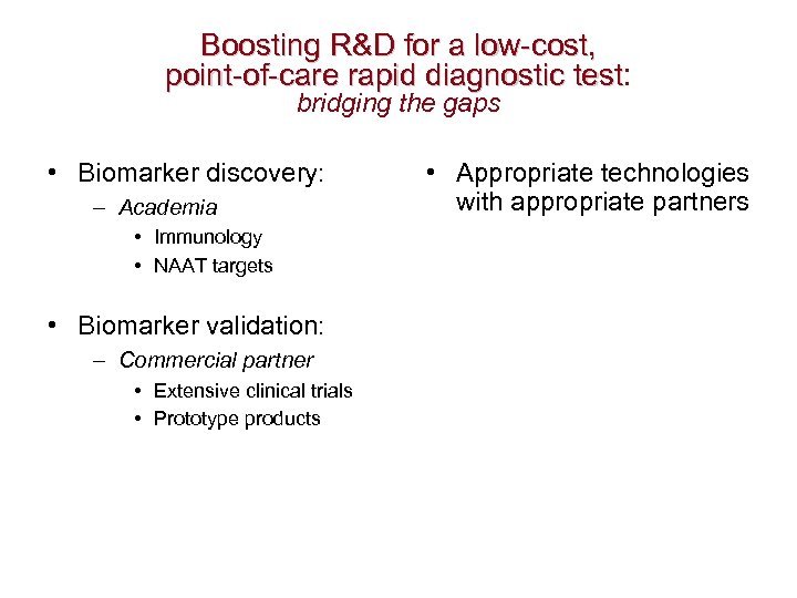 Boosting R&D for a low-cost, point-of-care rapid diagnostic test: point-of-care rapid diagnostic test bridging