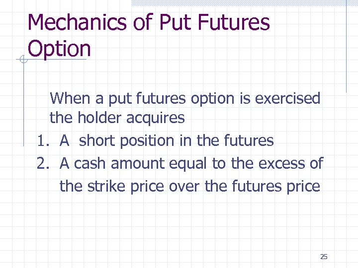 Mechanics of Put Futures Option When a put futures option is exercised the holder