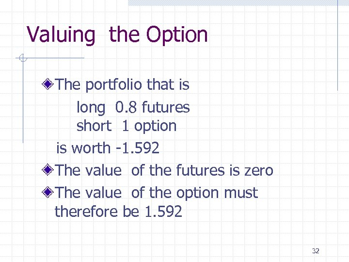Valuing the Option The portfolio that is long 0. 8 futures short 1 option