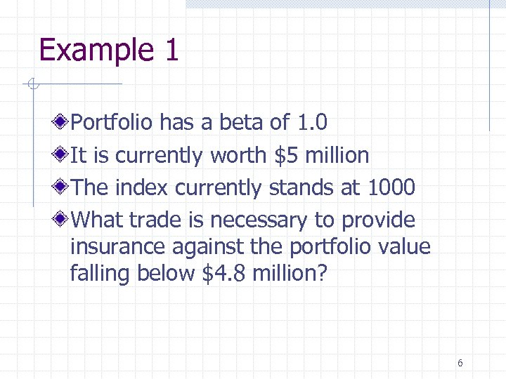 Example 1 Portfolio has a beta of 1. 0 It is currently worth $5