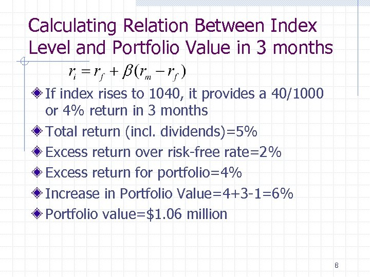 Calculating Relation Between Index Level and Portfolio Value in 3 months If index rises