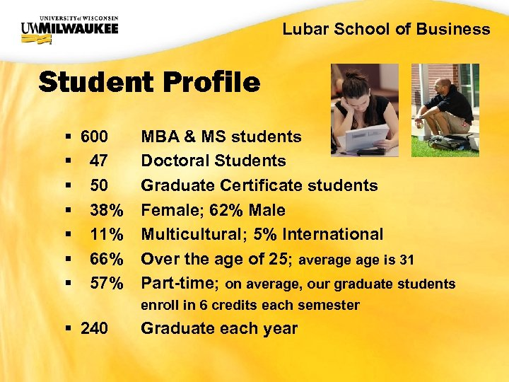 UWM CIO Office Lubar School of Business Student Profile § 600 § 47 §
