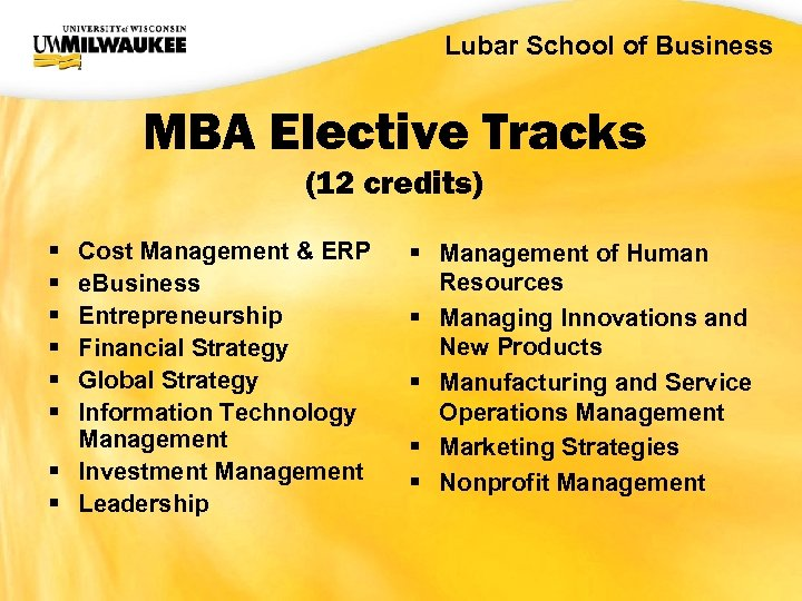 UWM CIO Office Lubar School of Business MBA Elective Tracks (12 credits) § §