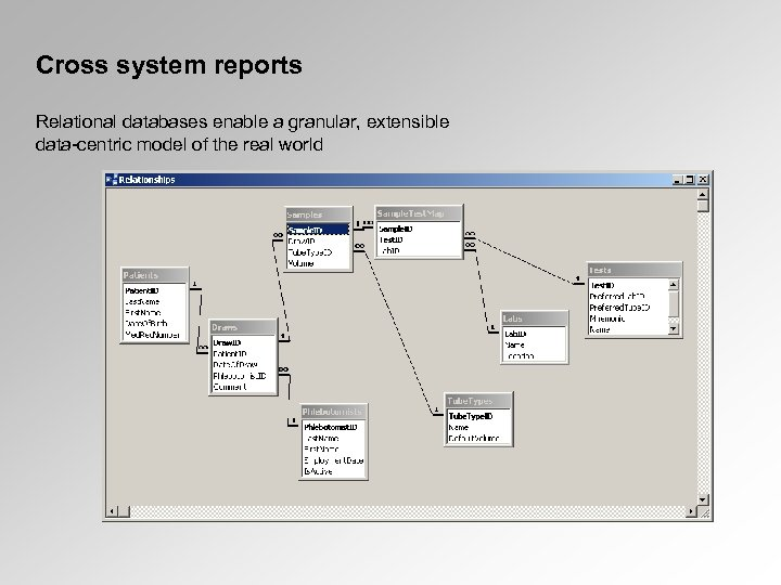 Cross system reports Relational databases enable a granular, extensible data-centric model of the real