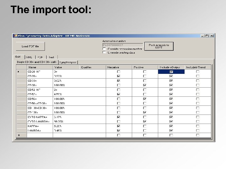 The import tool: