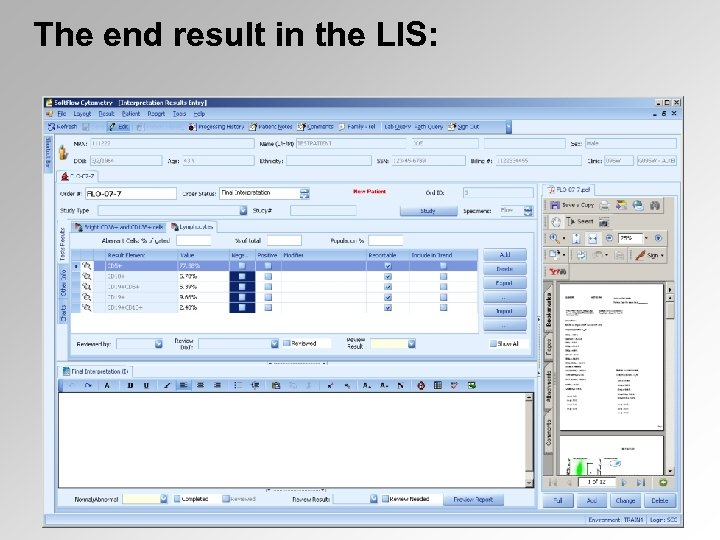 The end result in the LIS: