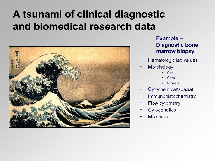 A tsunami of clinical diagnostic and biomedical research data Example – Diagnostic bone marrow