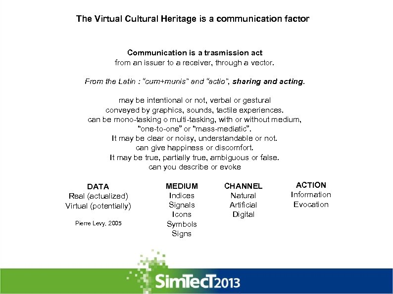 The Virtual Cultural Heritage is a communication factor Communication is a trasmission act from