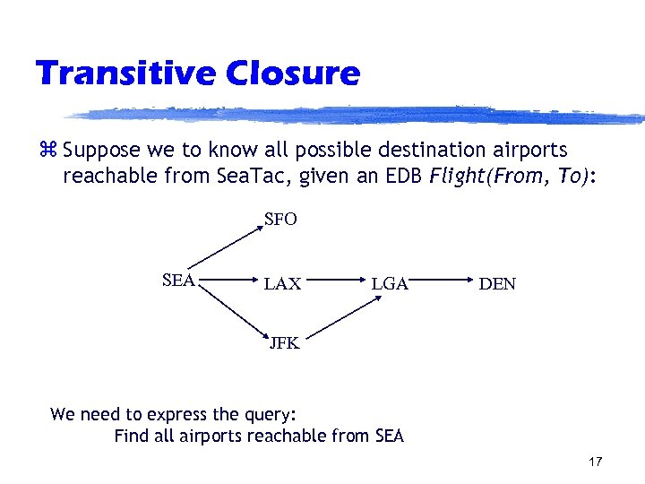 Transitive Closure z Suppose we to know all possible destination airports reachable from Sea.