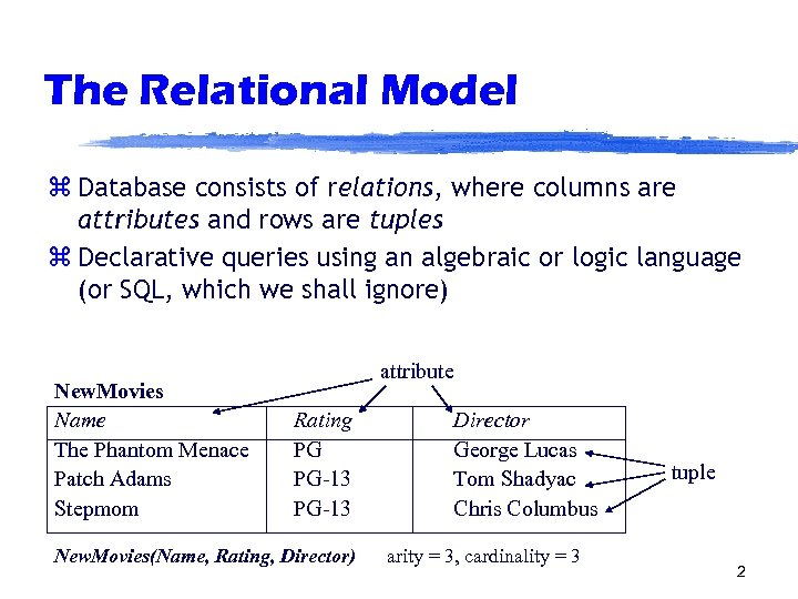 The Relational Model z Database consists of relations, where columns are attributes and rows