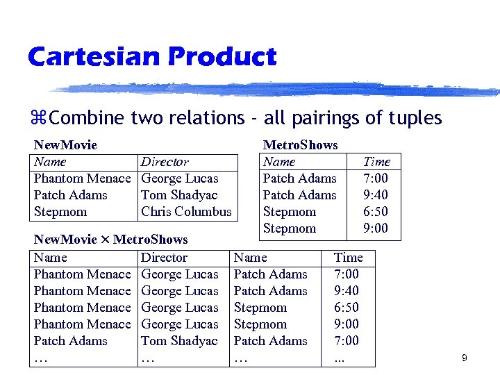 Cartesian Product z Combine two relations - all pairings of tuples New. Movie Name