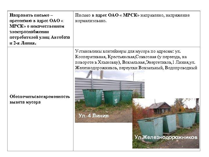 Направить письмо – Письмо в адрес ОАО « МРСК» направлено, напряжение претензию в адрес