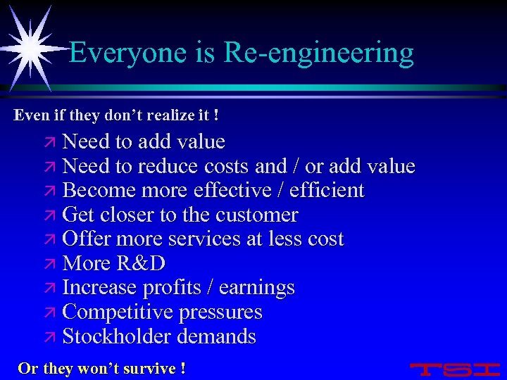 Everyone is Re-engineering Even if they don't realize it ! ä Need to add