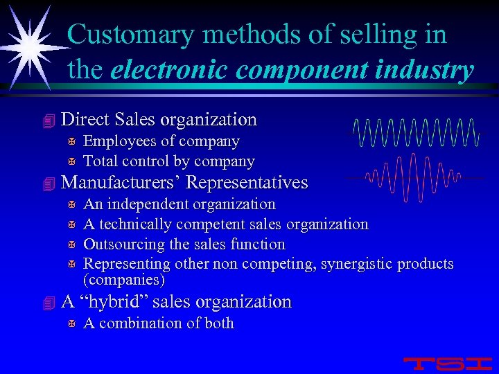 Customary methods of selling in the electronic component industry 4 Direct Sales organization X