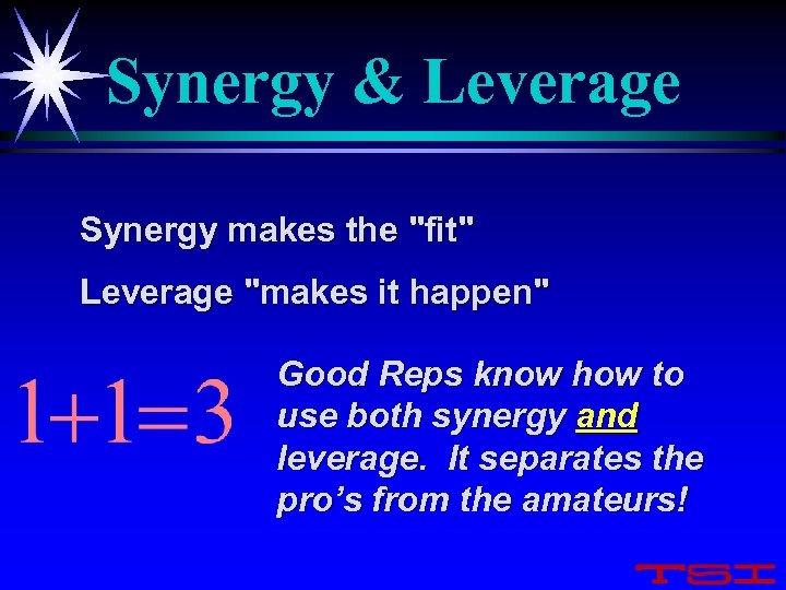 Synergy & Leverage Synergy makes the