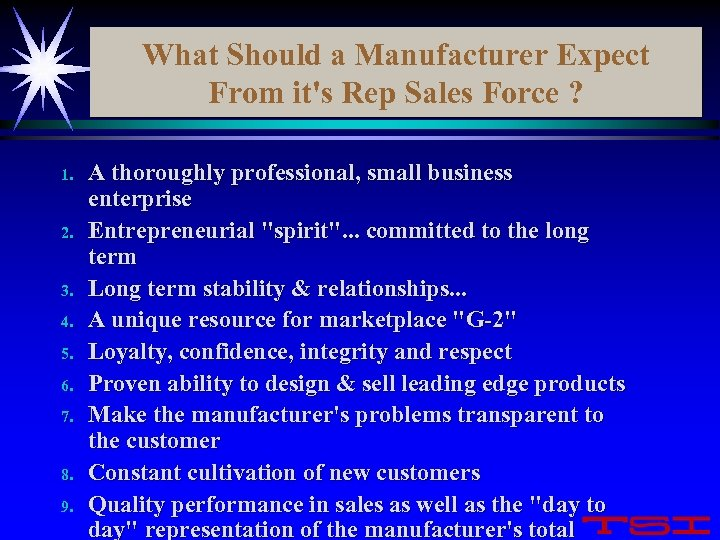 What Should a Manufacturer Expect From it's Rep Sales Force ? 1. 2. 3.