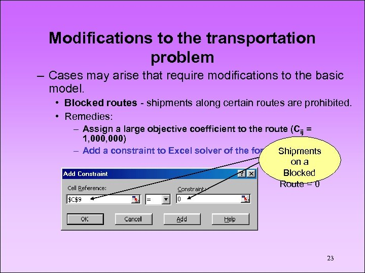 Modifications to the transportation problem – Cases may arise that require modifications to the