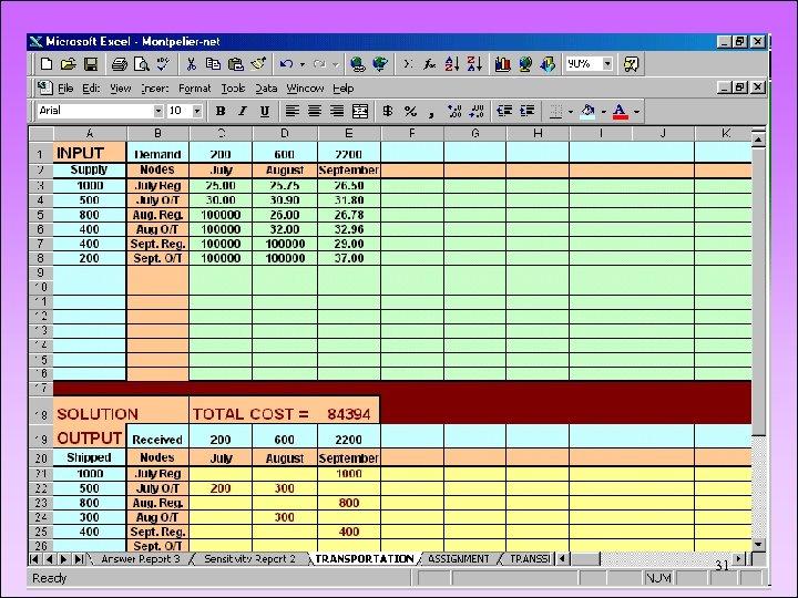 MONTPELIER SKI COMPANY Spreadsheet 31