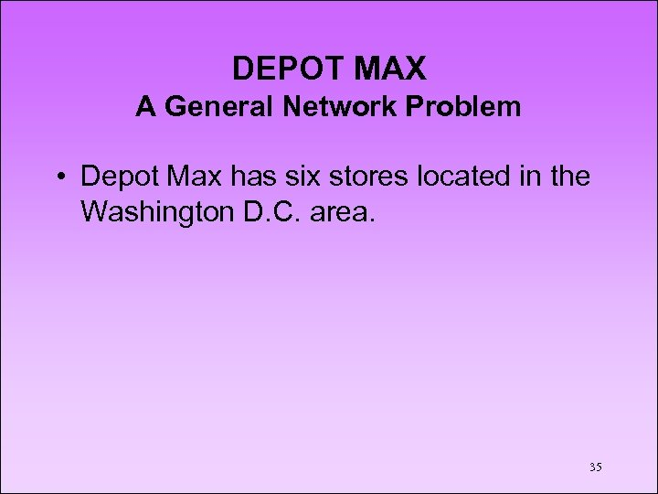 DEPOT MAX A General Network Problem • Depot Max has six stores located in