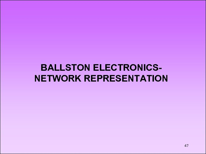 BALLSTON ELECTRONICSNETWORK REPRESENTATION 47