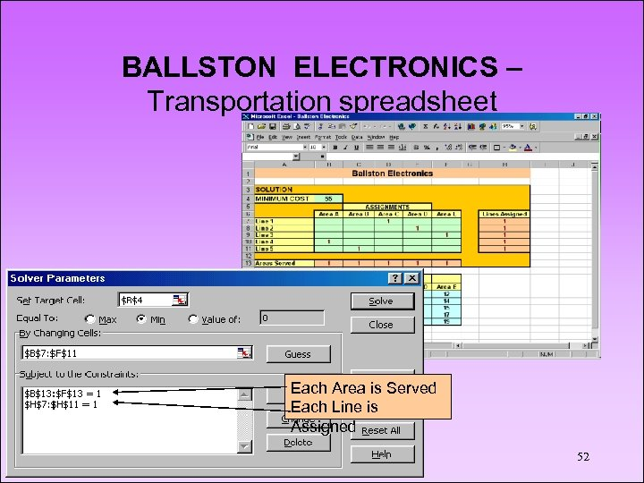 BALLSTON ELECTRONICS – Transportation spreadsheet Each Area is Served Each Line is Assigned 52