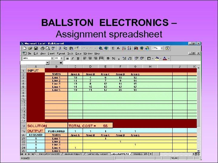 BALLSTON ELECTRONICS – Assignment spreadsheet 53